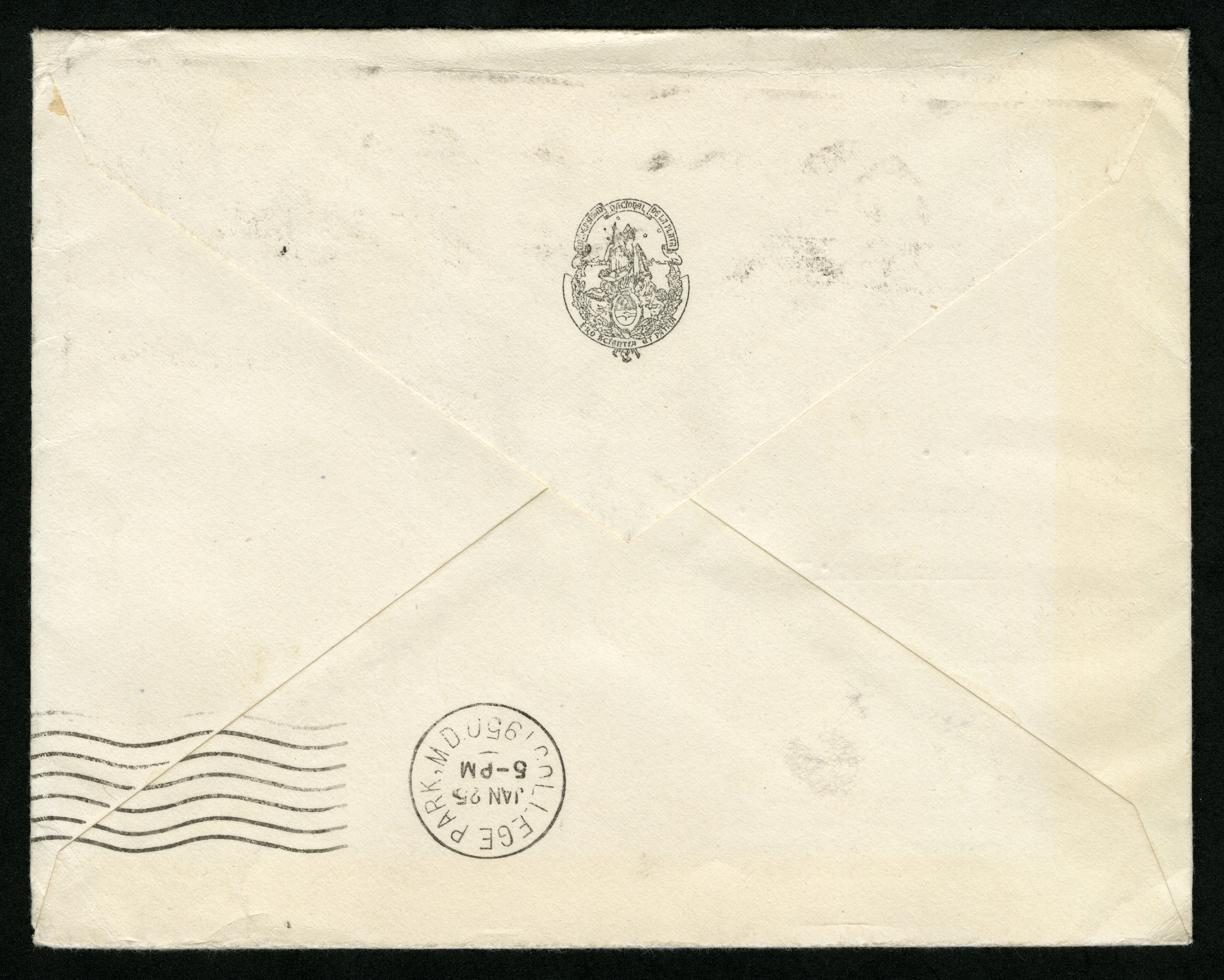 Back of Envelope for a Holiday Card from Dr. Emiliano MacDonagh to Isaac Ginsburg.