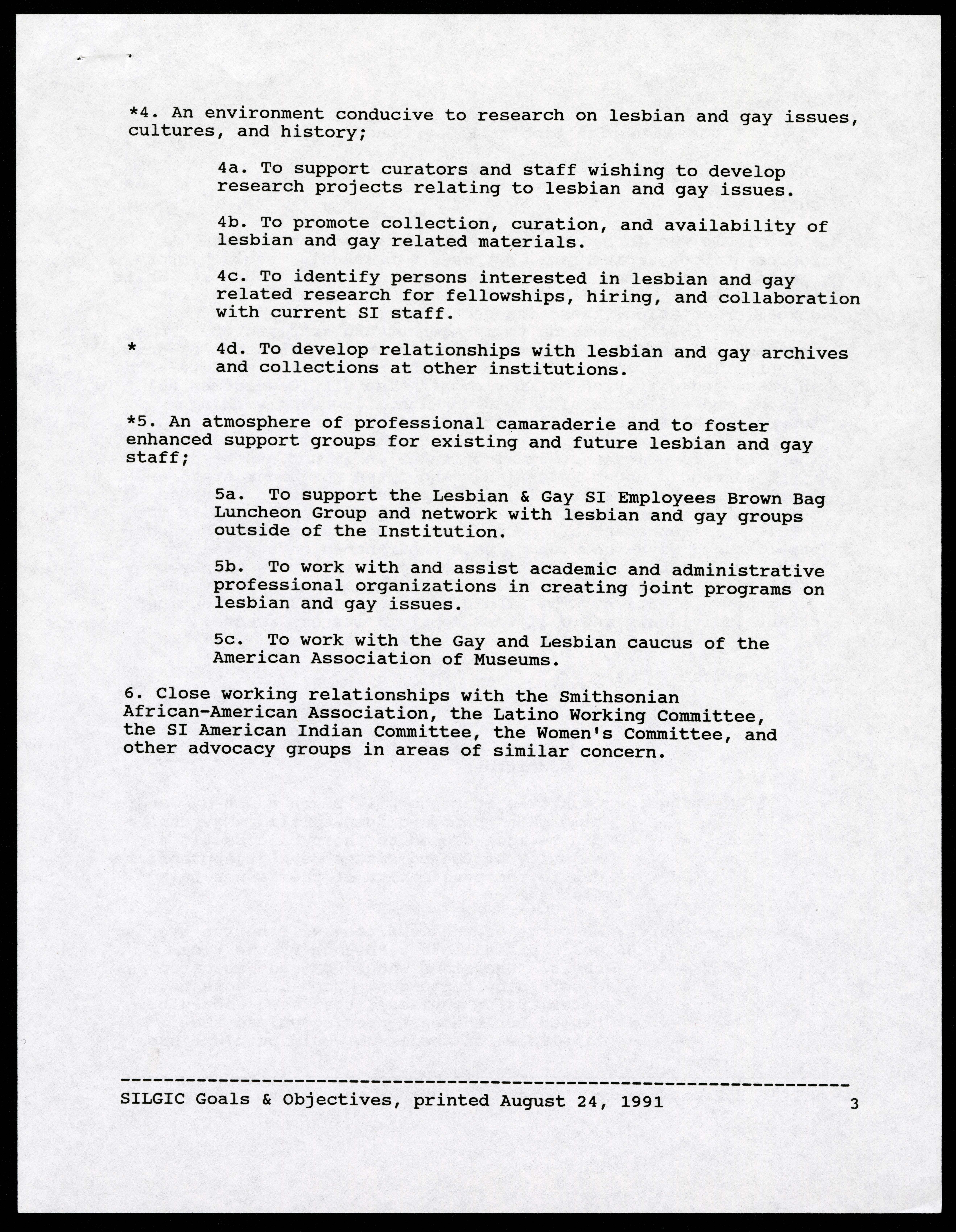 The SI Lesbian & Gay Issues Committee Goals and Objectives document, June 3, 1991.