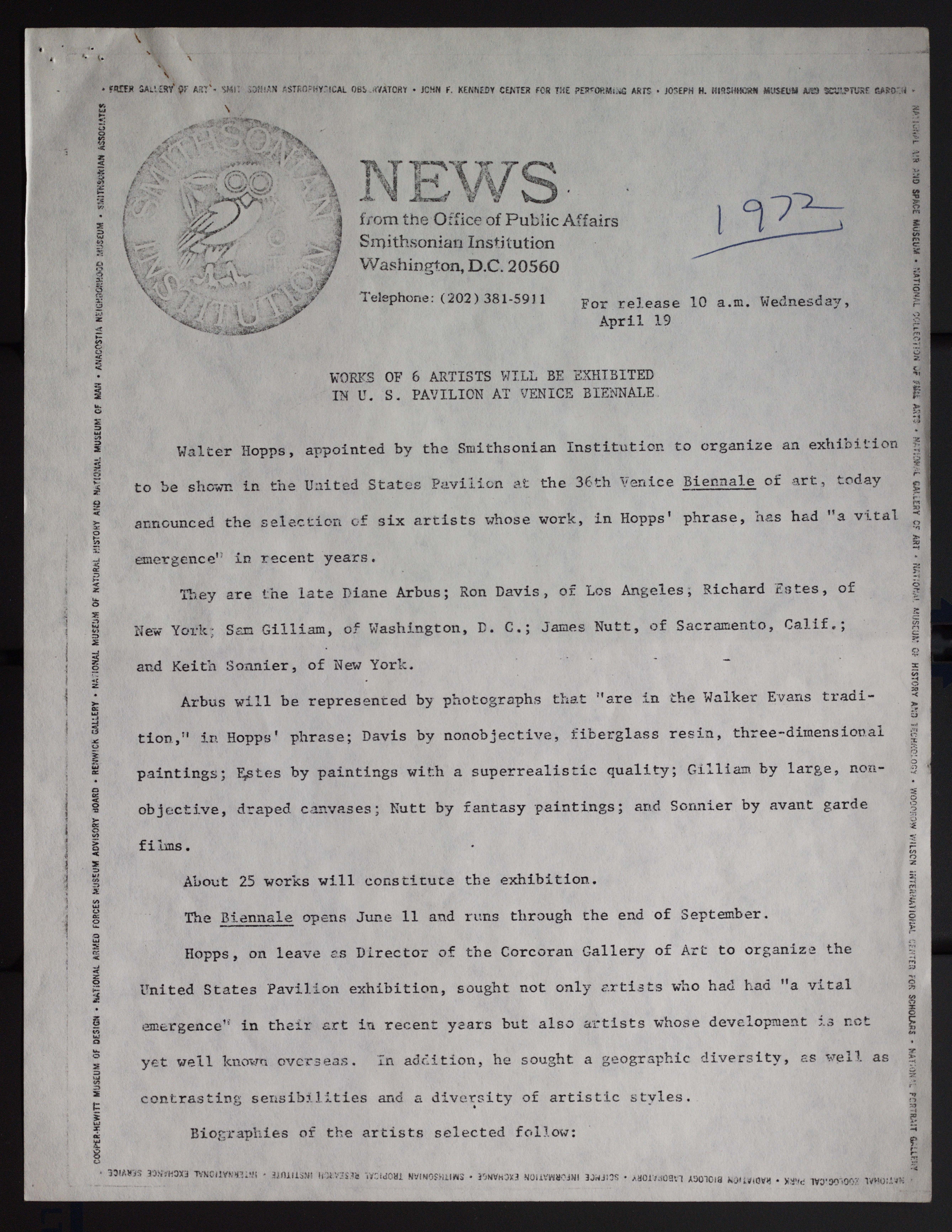 Scan of a full page press release, containing the old Owl Smithsonian logo in the upper left corner.