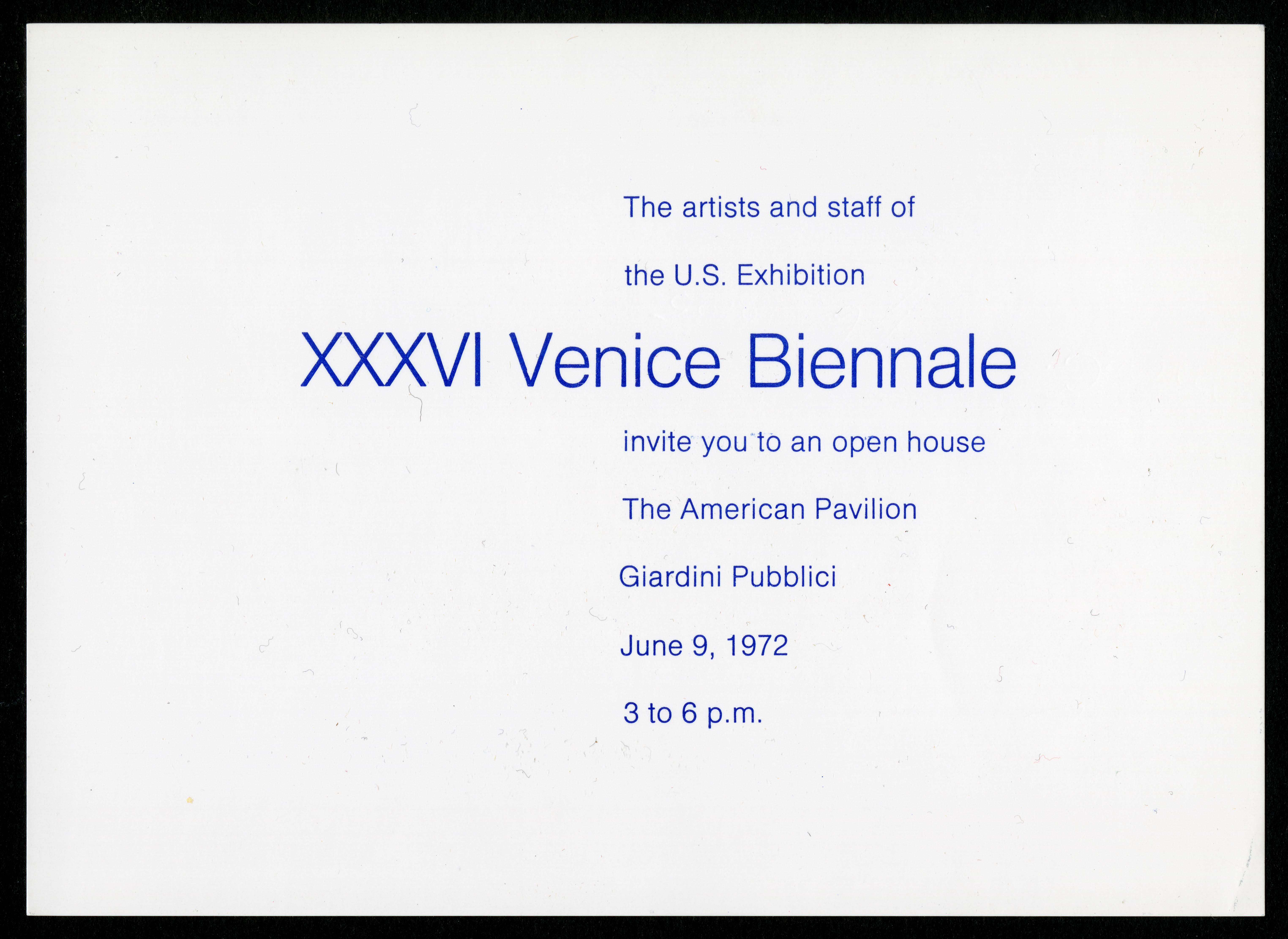 Scan of the front of an invitation, a block of blue sans serif text in English is centered in the pa