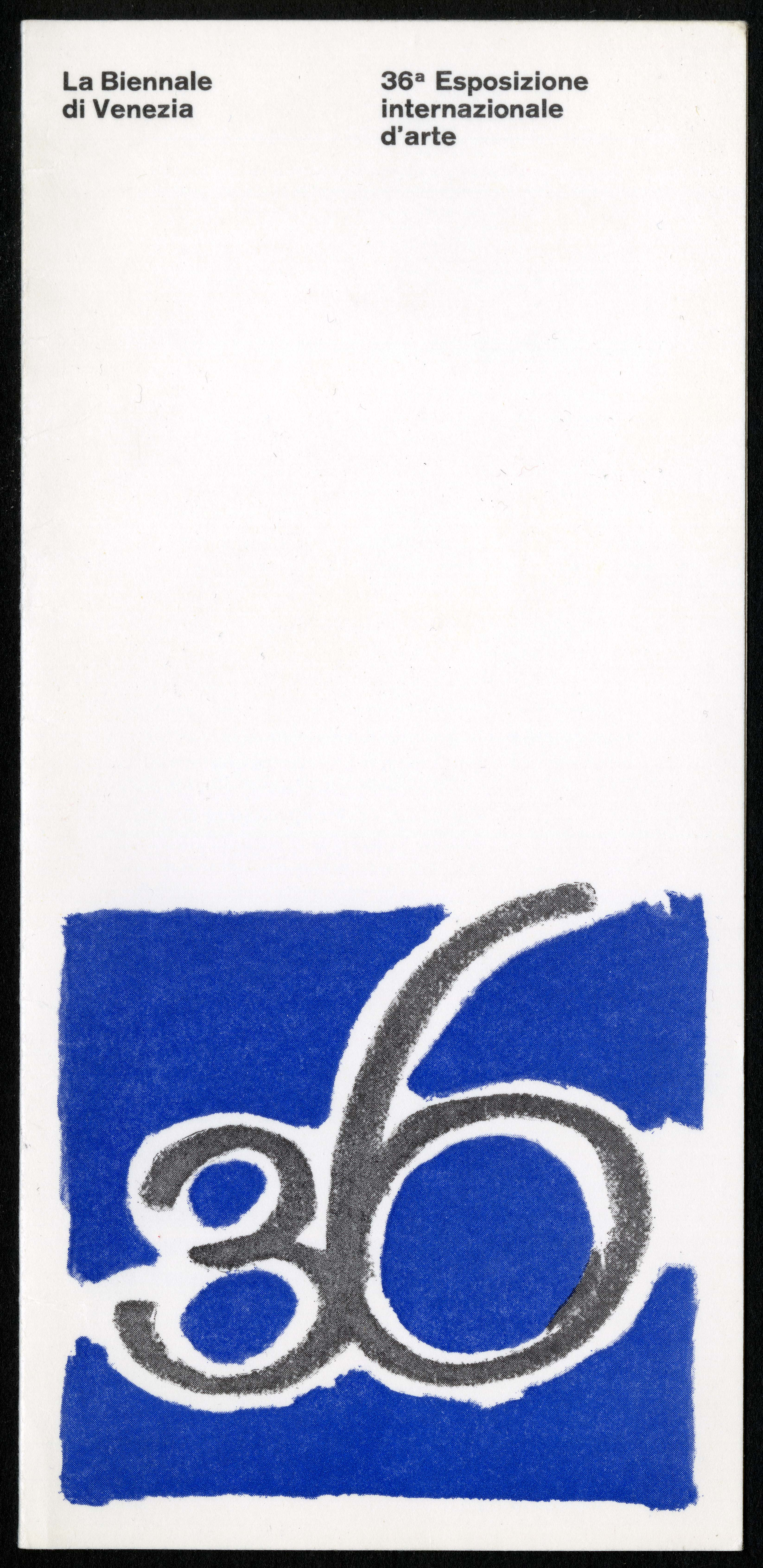 "Scan of the front of an invitation, featuring a blue ""36"" logo at the bottom of the page, and two sm"