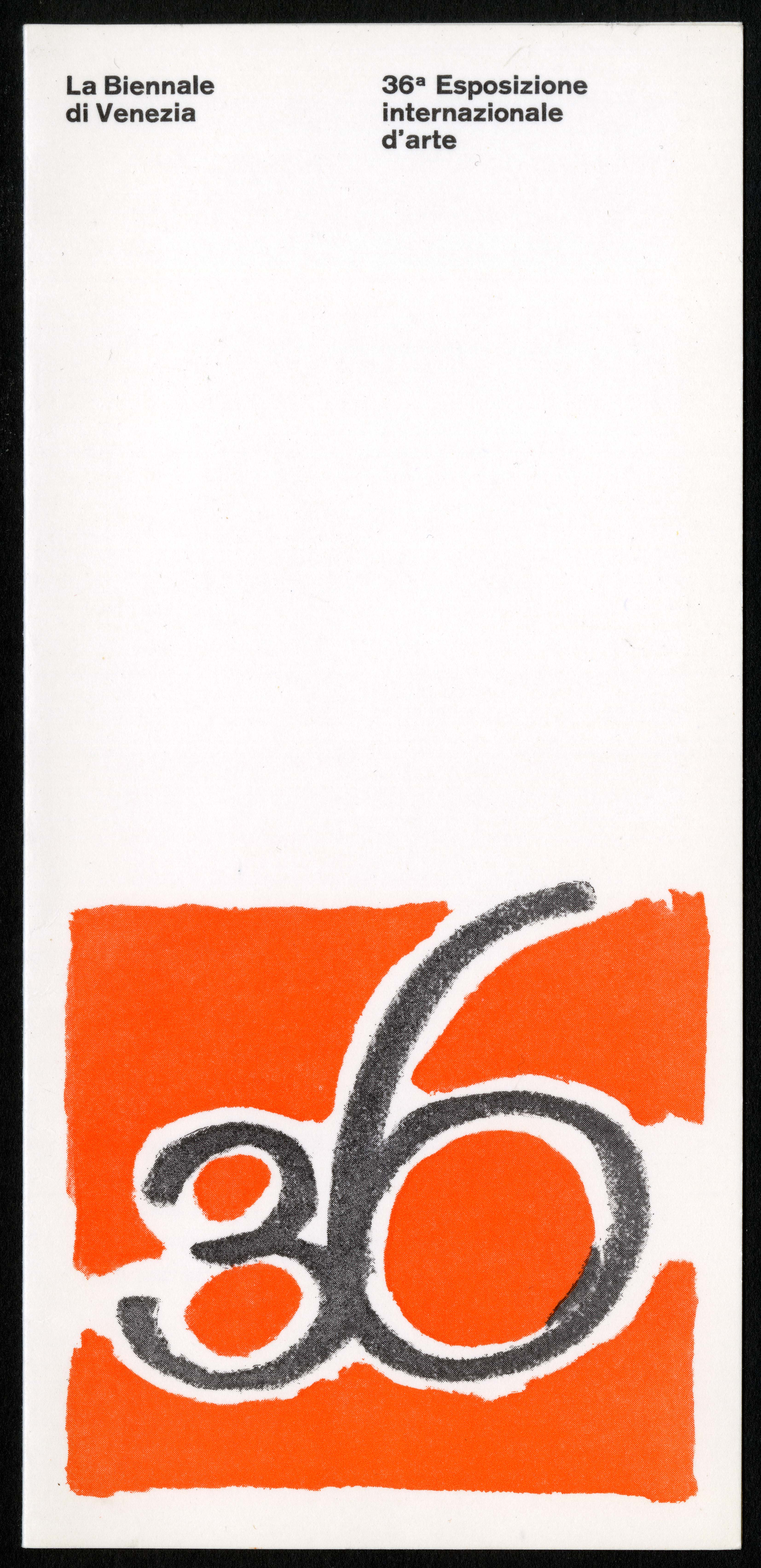 "Scan of the front of an invitation, featuring a red ""36"" logo at the bottom of the page, and two sma"