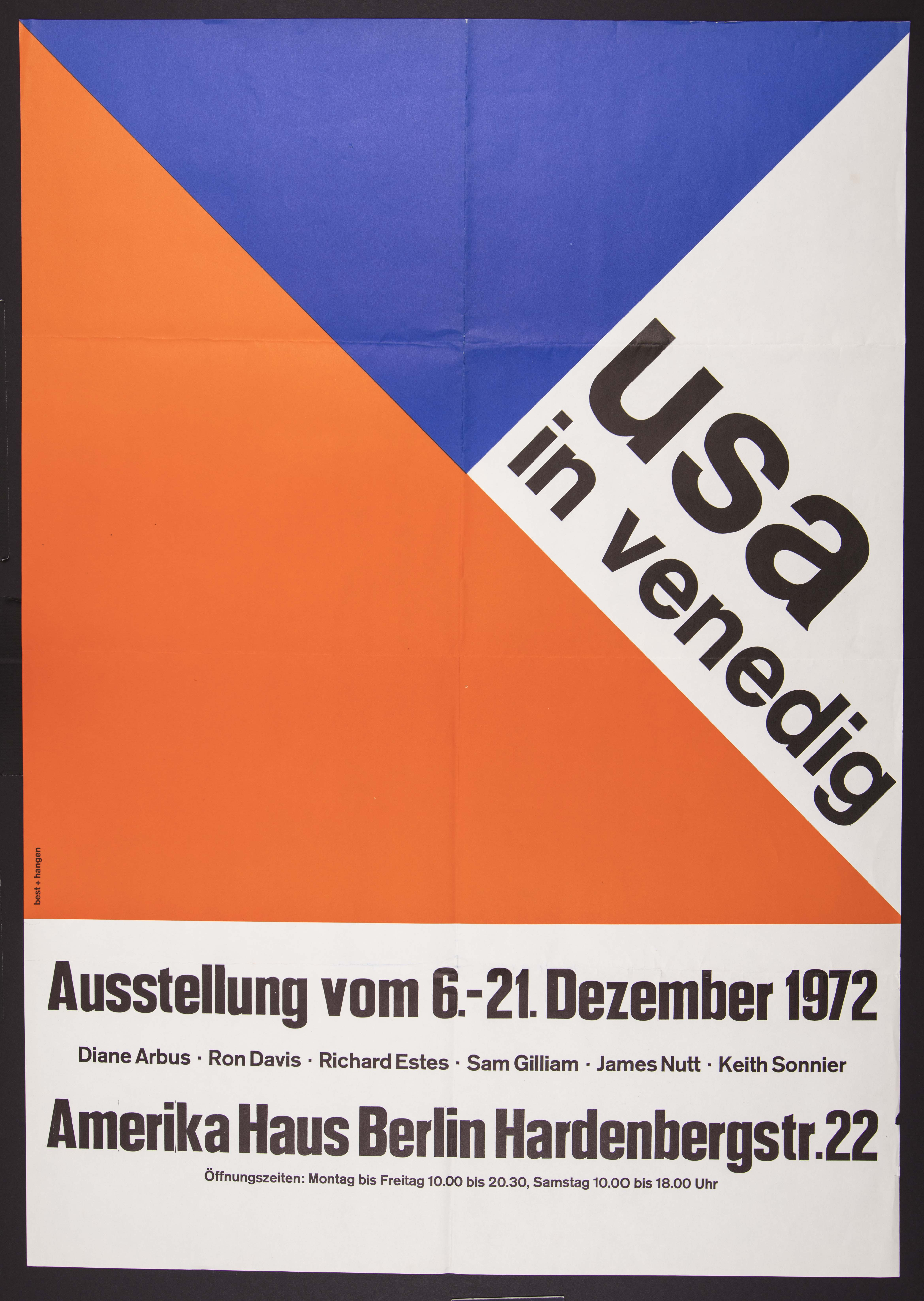 "Scan of a poster, with red white and blue geometric shapes, large text in the corner reads ""usa in v"