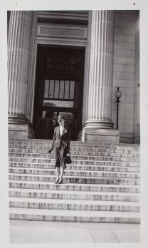 Helena Weiss standing on the south steps of the U.S. National Museum, c. late 1930s.