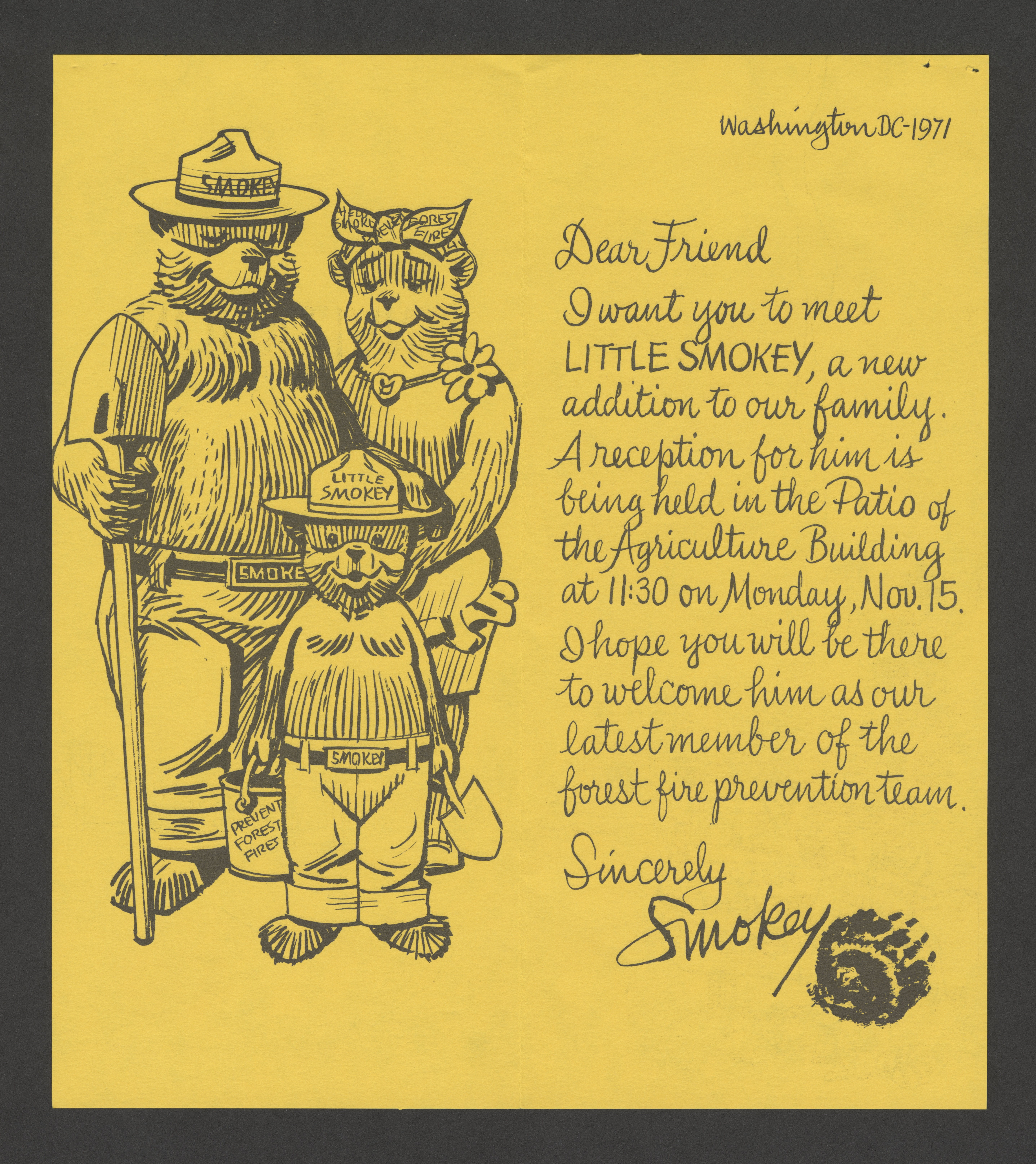 Inside of an invitation. On the left, two adult bears stands behind a small bear wearing a hat that
