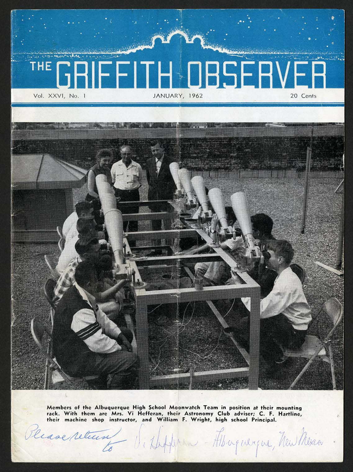 Cover of a publication, titled The Griffith Observer. Young men are seated in two rows each with a t