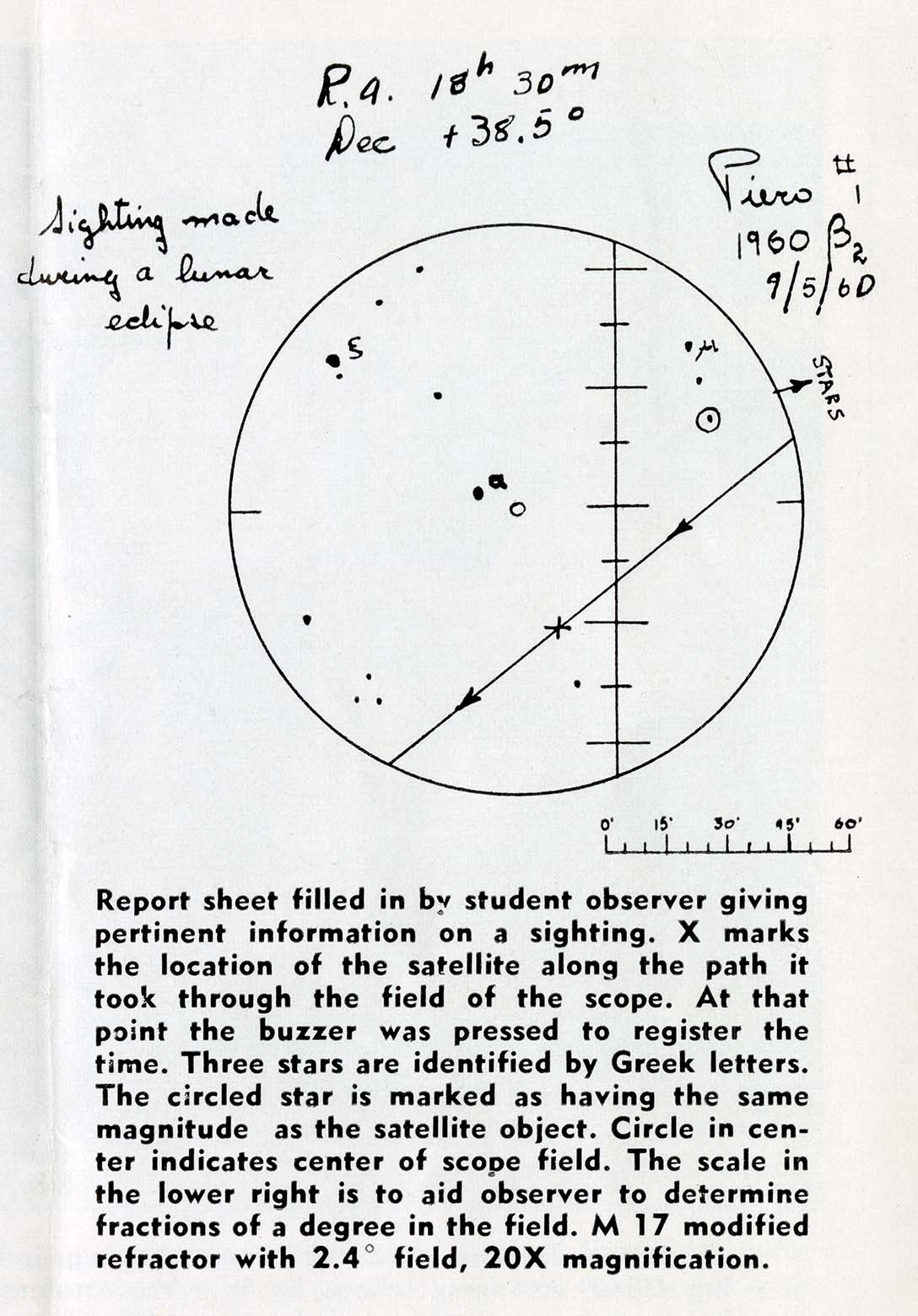 Sheet of paper with a circular chart sketched at the top. Below, the text explains the chart. Circle