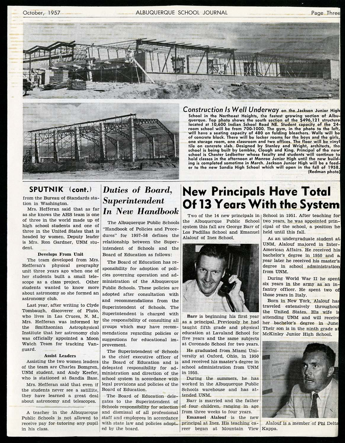Image of a newspaper page of the October 1957 Albuquerque Public Schools Journal. An article on this