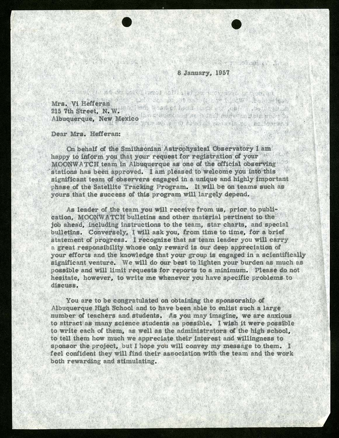 Typed letter, dated 6 January, 1957 and addressed to Mrs. Vi Hefferan.