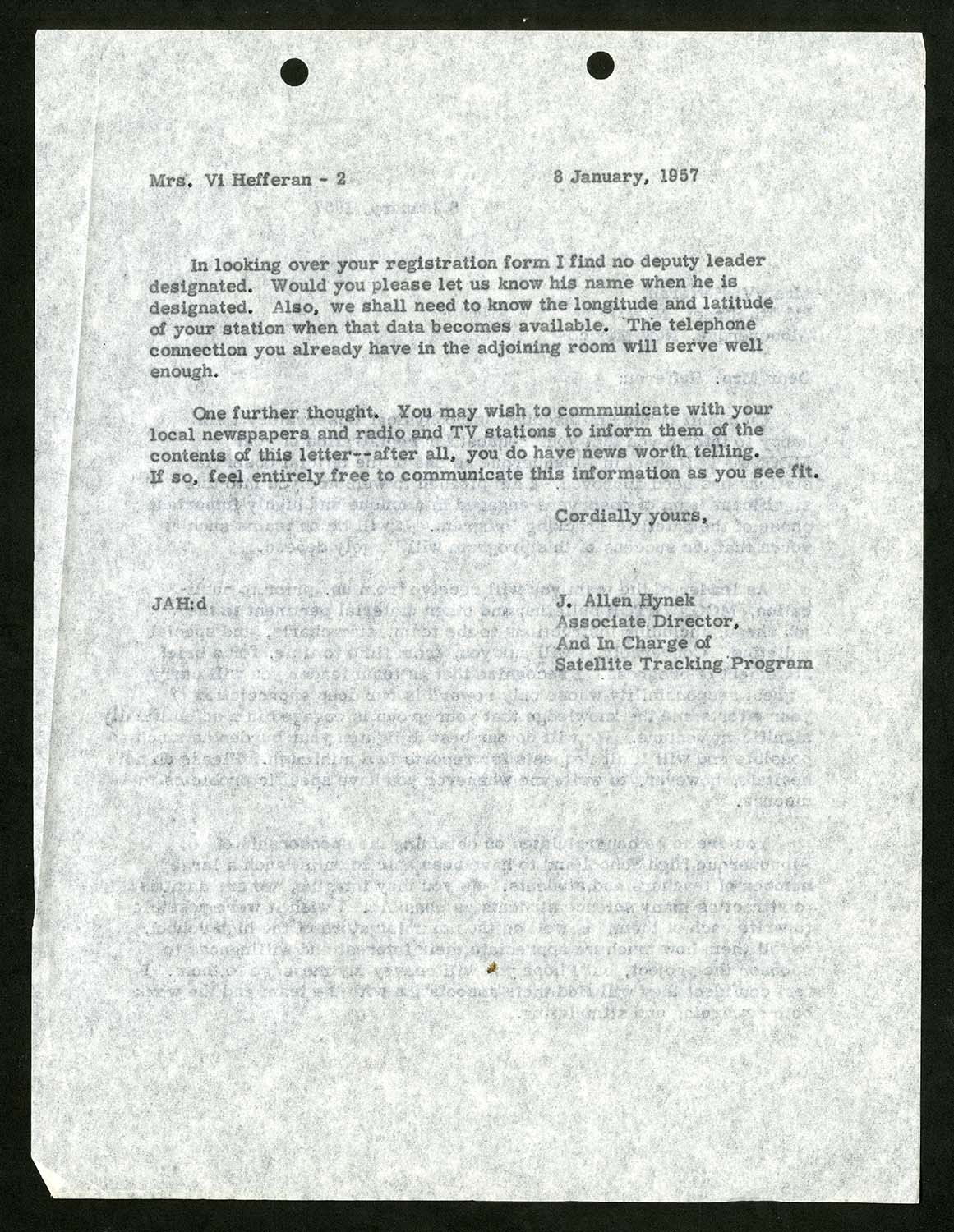 Typed letter, dated 6 January, 1957 and addressed to Mrs. Vi Hefferan. The second page of the letter