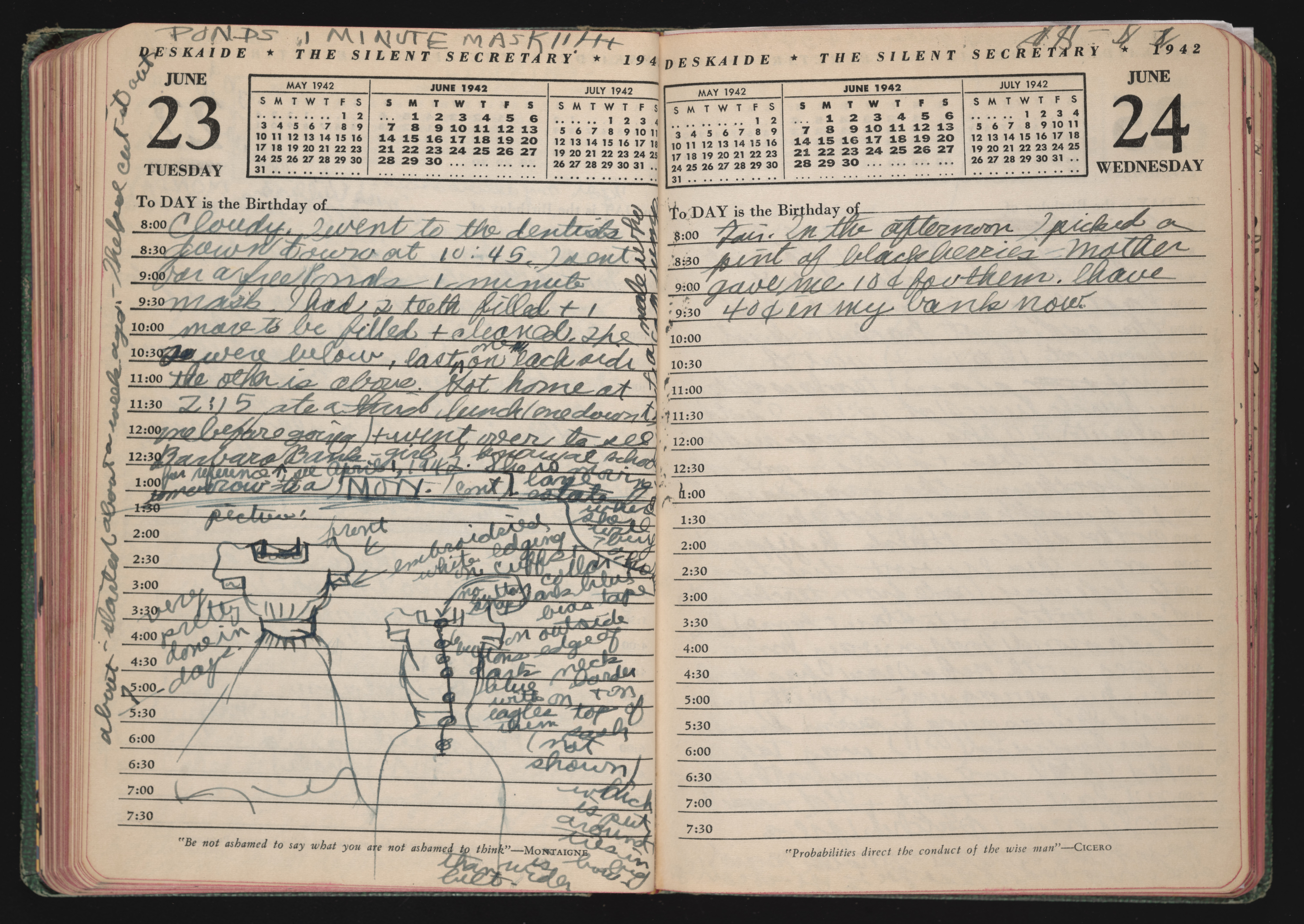 Written diary entry by Doris Sidney Blake, June 23-24, 1942. Contains sketches of dresses.