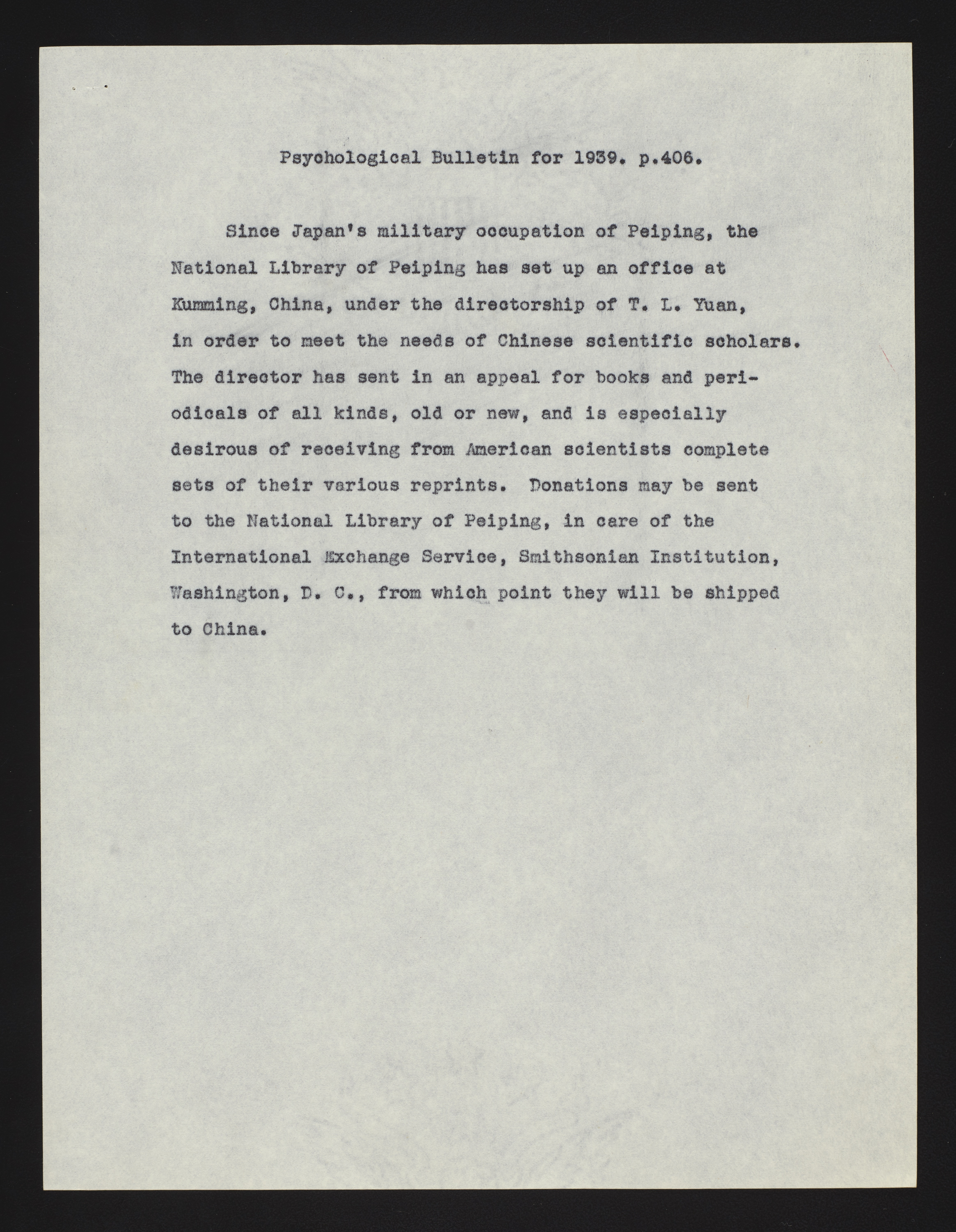 Bulletin that was attached to a piece of correspondence. Describes the relocation of the National Li
