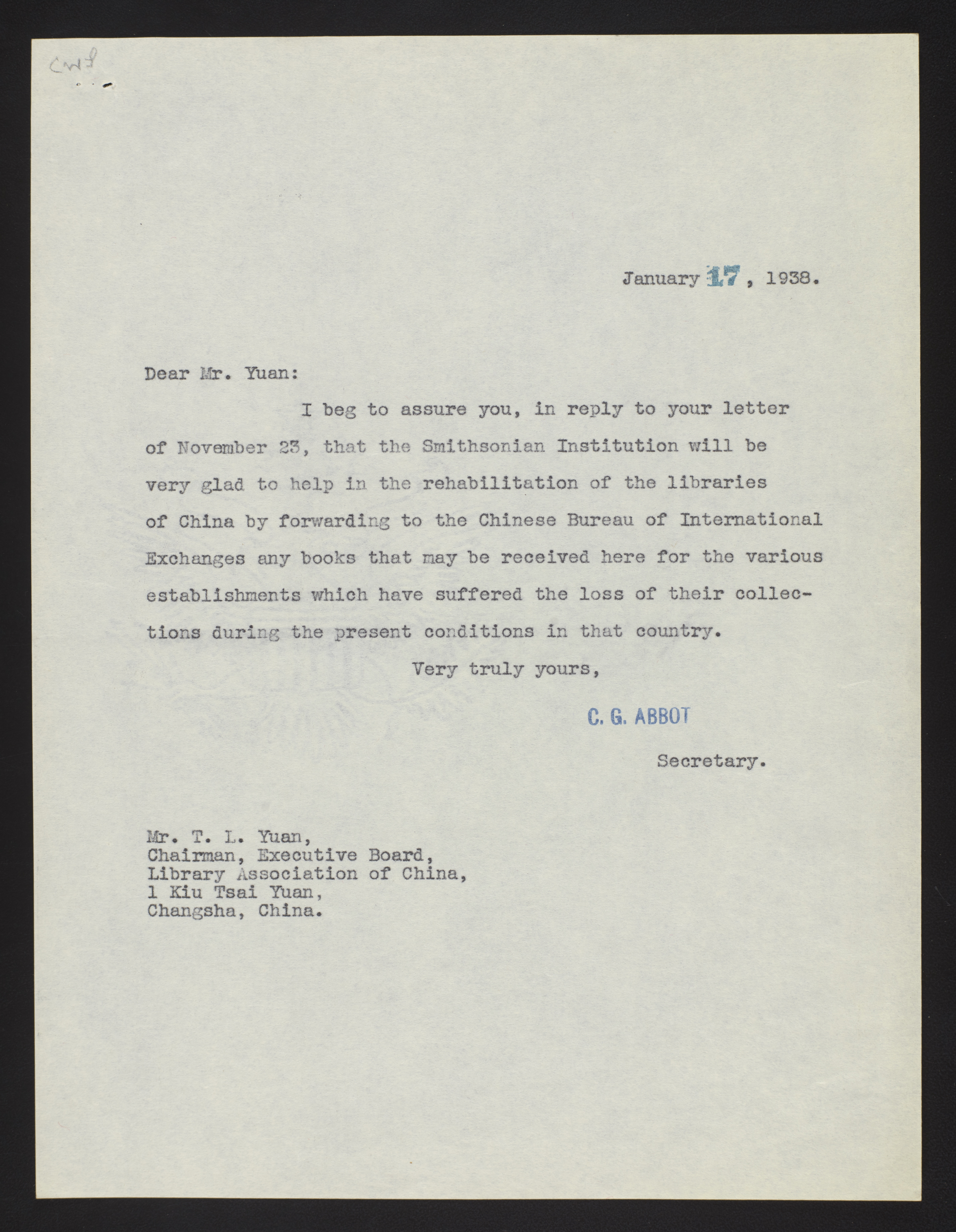 Typewritten letter from Smithsonian Secretary Charles G. Abbot to Library Association of China Chair