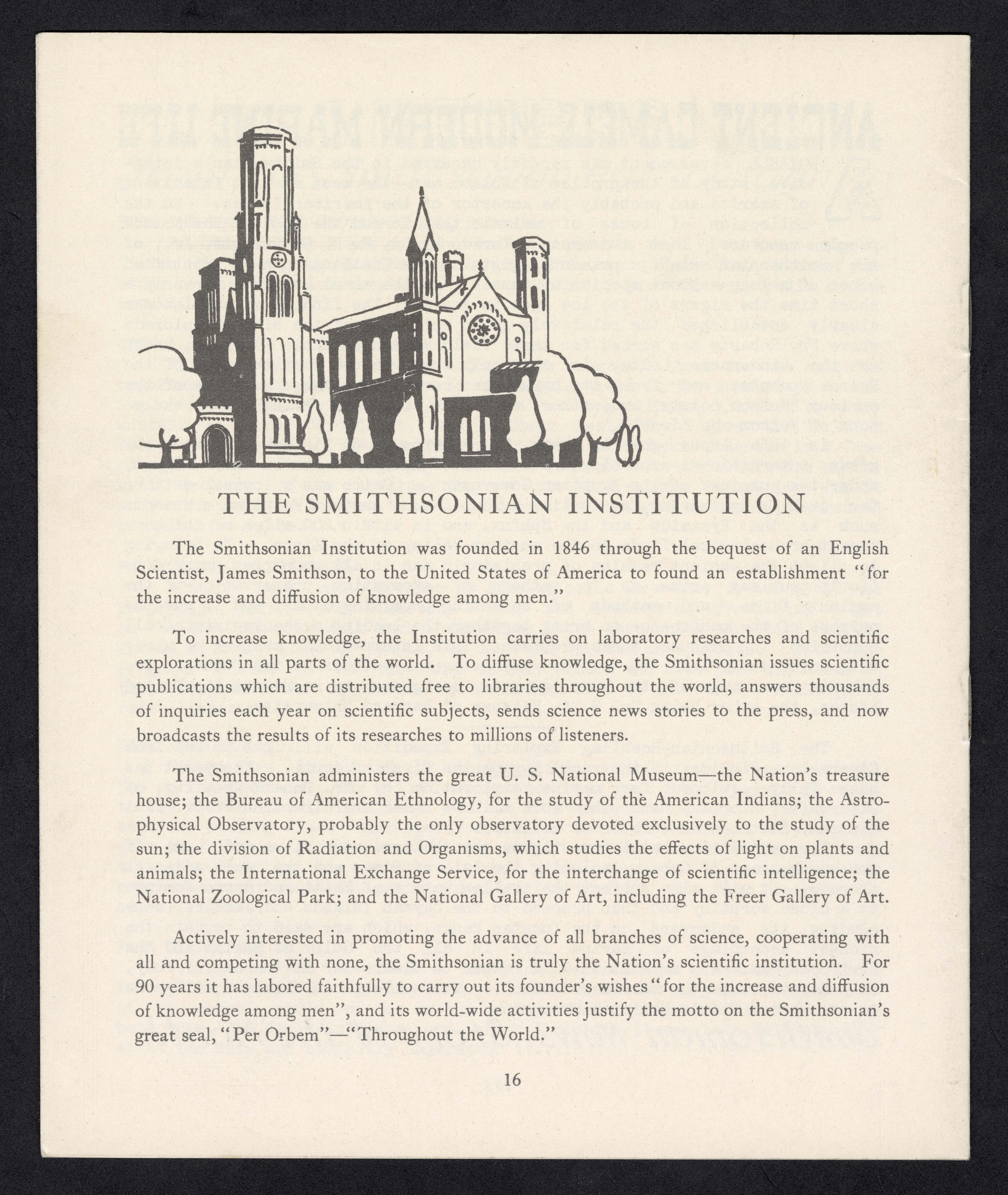 Page 16 is a brief history of the Smithsonian with a sketch of the Smithsonian Institution Building.