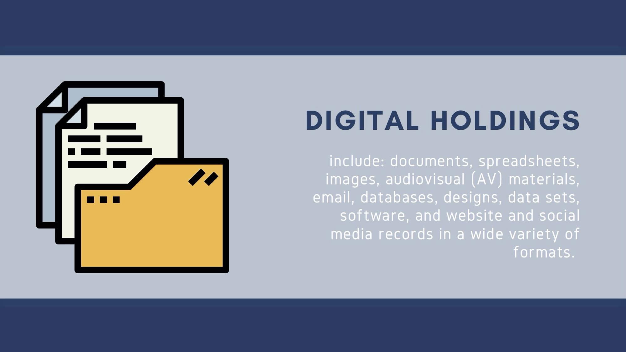 Slide 2 heading digital holdings include: body documents, spreadsheets, images, audiovisual (AV) mat