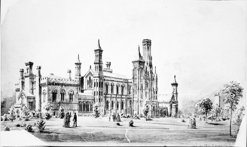 Watercolor drawing of north façade of the Smithsonian Institution Building shows groups of visitors out front on the paths, artist unknown.  Smithsonian Institution Archives, Record Unit 95, Box 30, Folder 4, Neg. # SIA-82-3280.