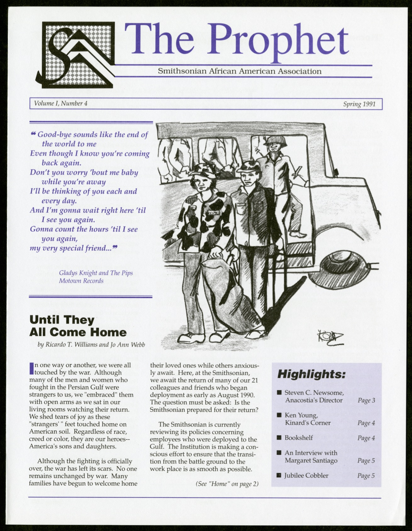 """Spring 1991 issue of the Prophet with sketch of soldiers coming off a bus. The article is titled """"Un"""
