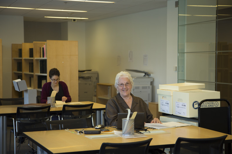 Researchers in the Archives' public reading room.