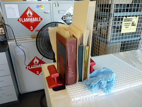Disaster mock up - Books drying upright