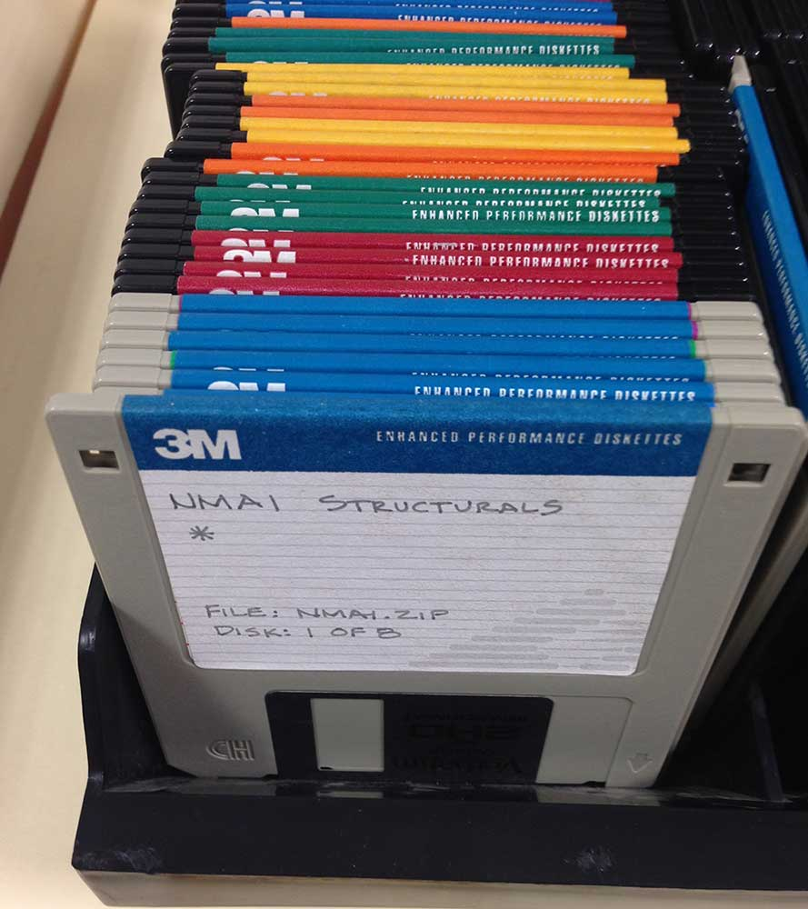 multiple multicolored 3M diskettes standing on end