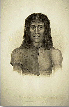 Drawing of a man from Tierra del Fuego