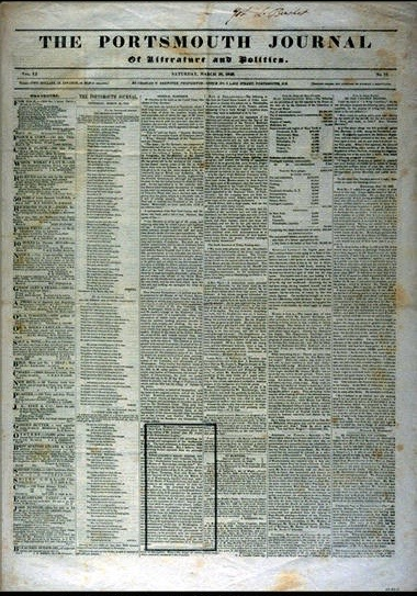 Front page of the newspaper, black text on white background, no images