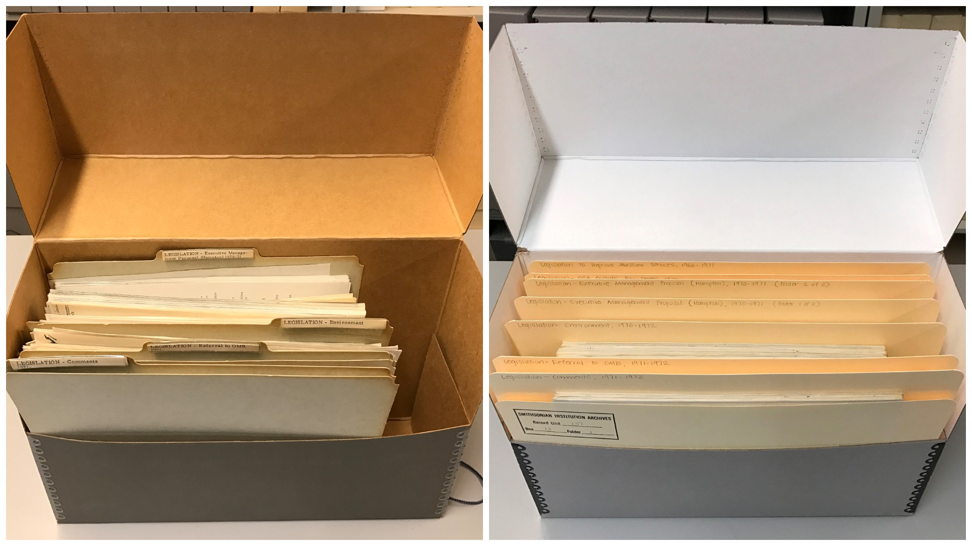 Two archival boxes filled with beige folders