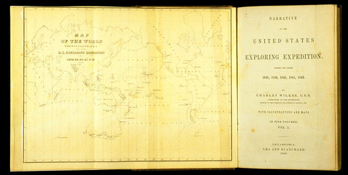 Title page fold out of a book showing a map of the world