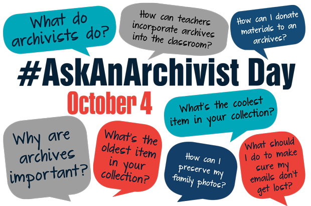 Logo for #AskAnArchivist with conversation bubbles with sample questions
