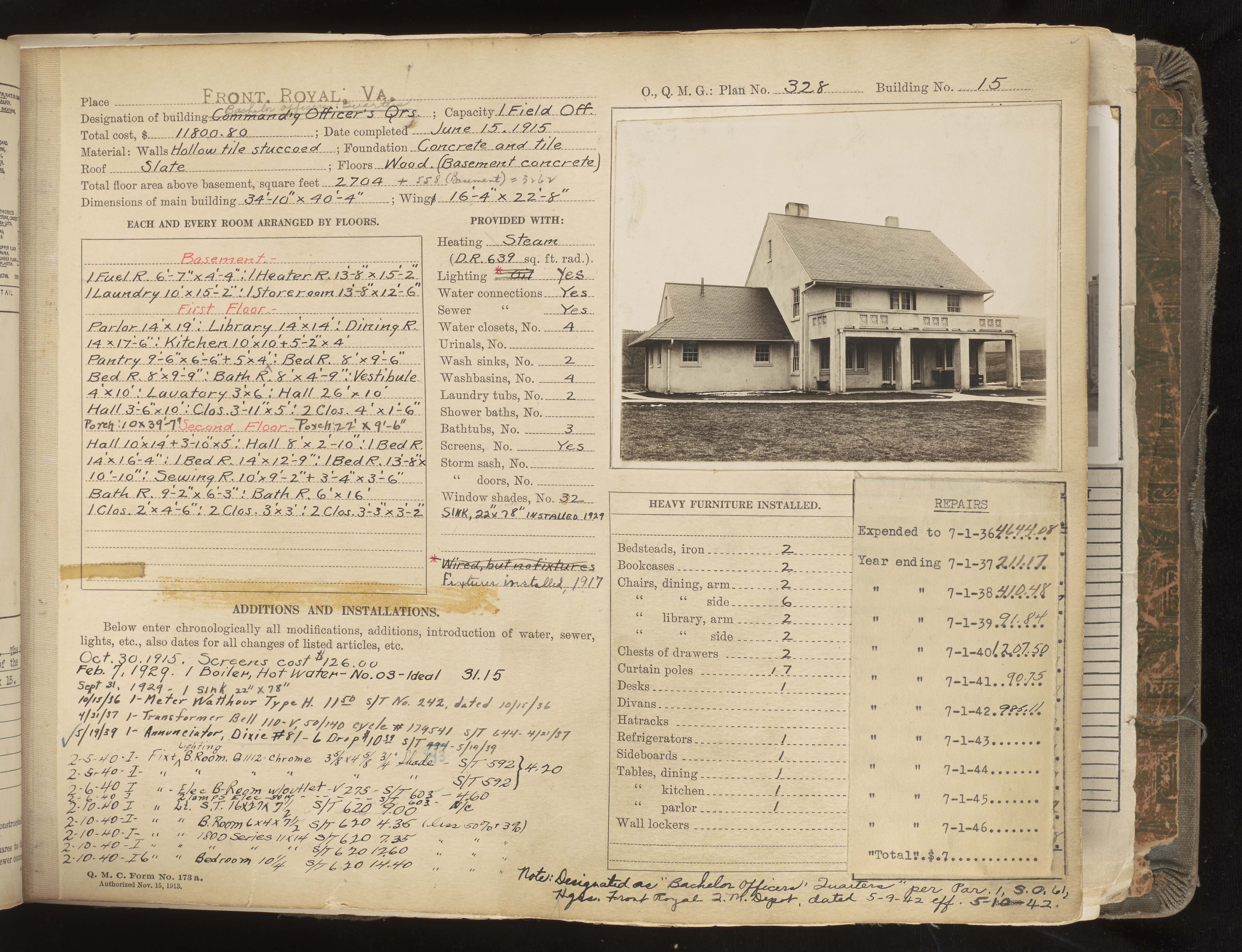 Page of book with image of building and written information about it.