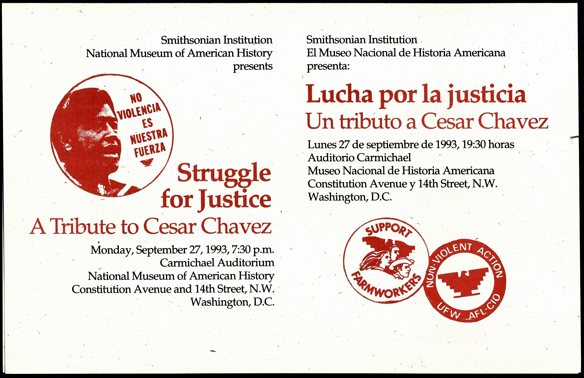 Struggle for Justice: A Tribute to Cesar Chavez at the National Museum of American History, flyer, 1
