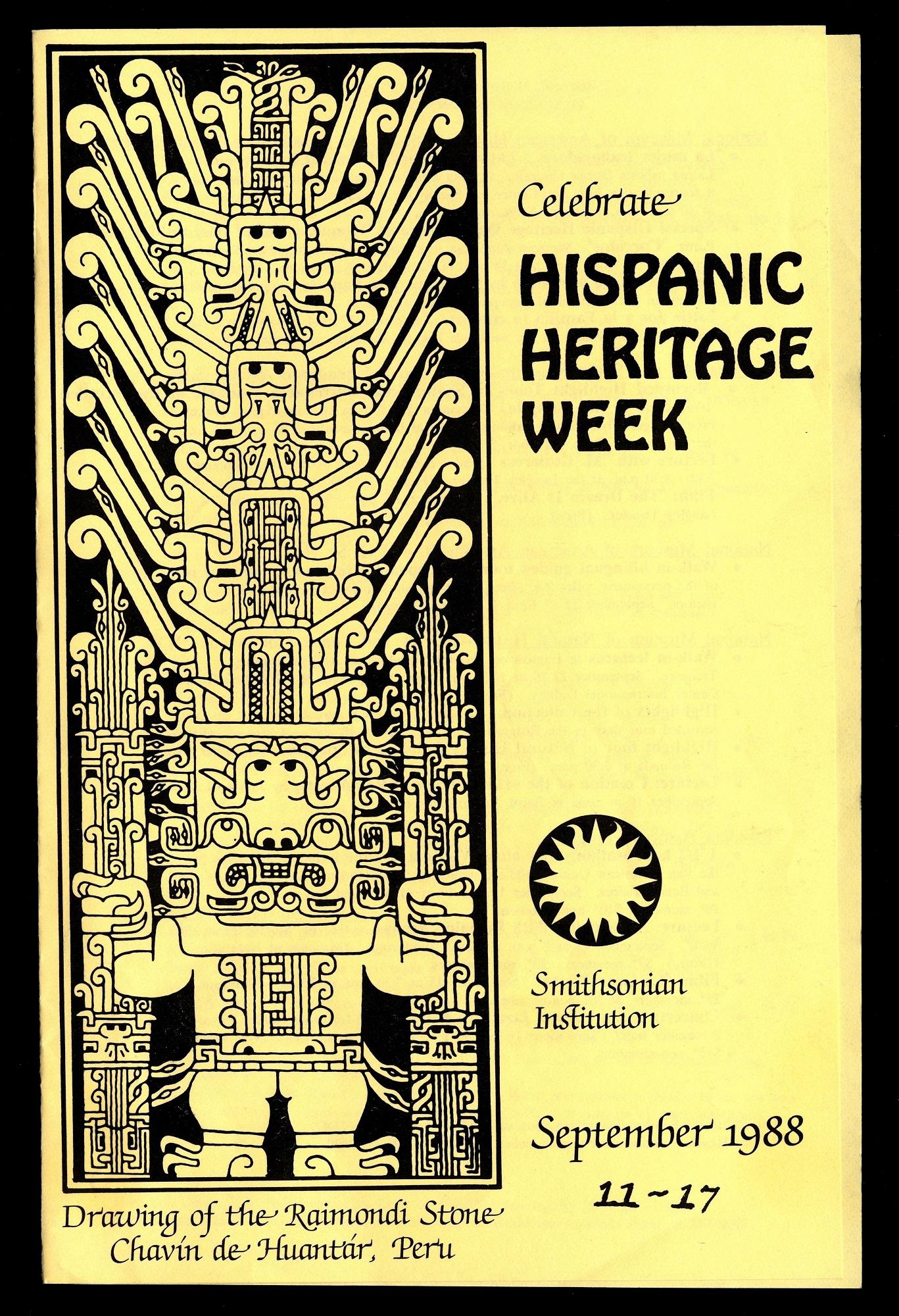 Celebrate Hispanic Heritage Week, brochure, 1988.