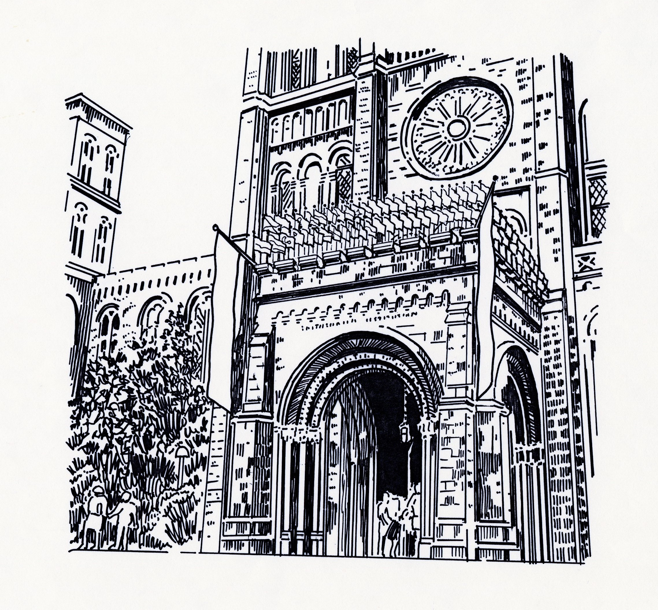 Black and white drawing of flags adorning the National Mall entrance to the Smithsonian Institution