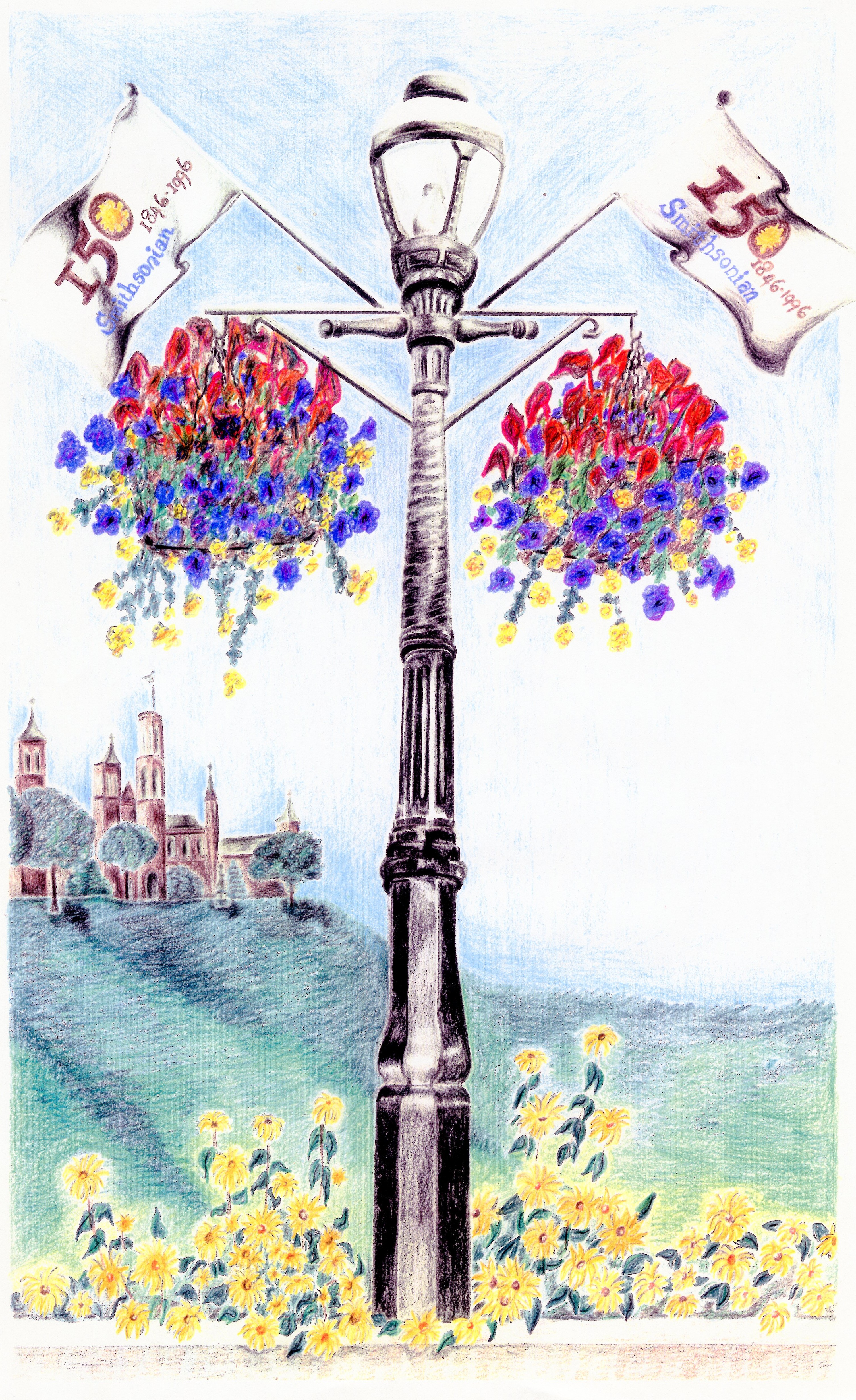 Color drawing of 150th Anniversary flags on National Mall lampposts, circa 1996, Image no. SIA2020-0