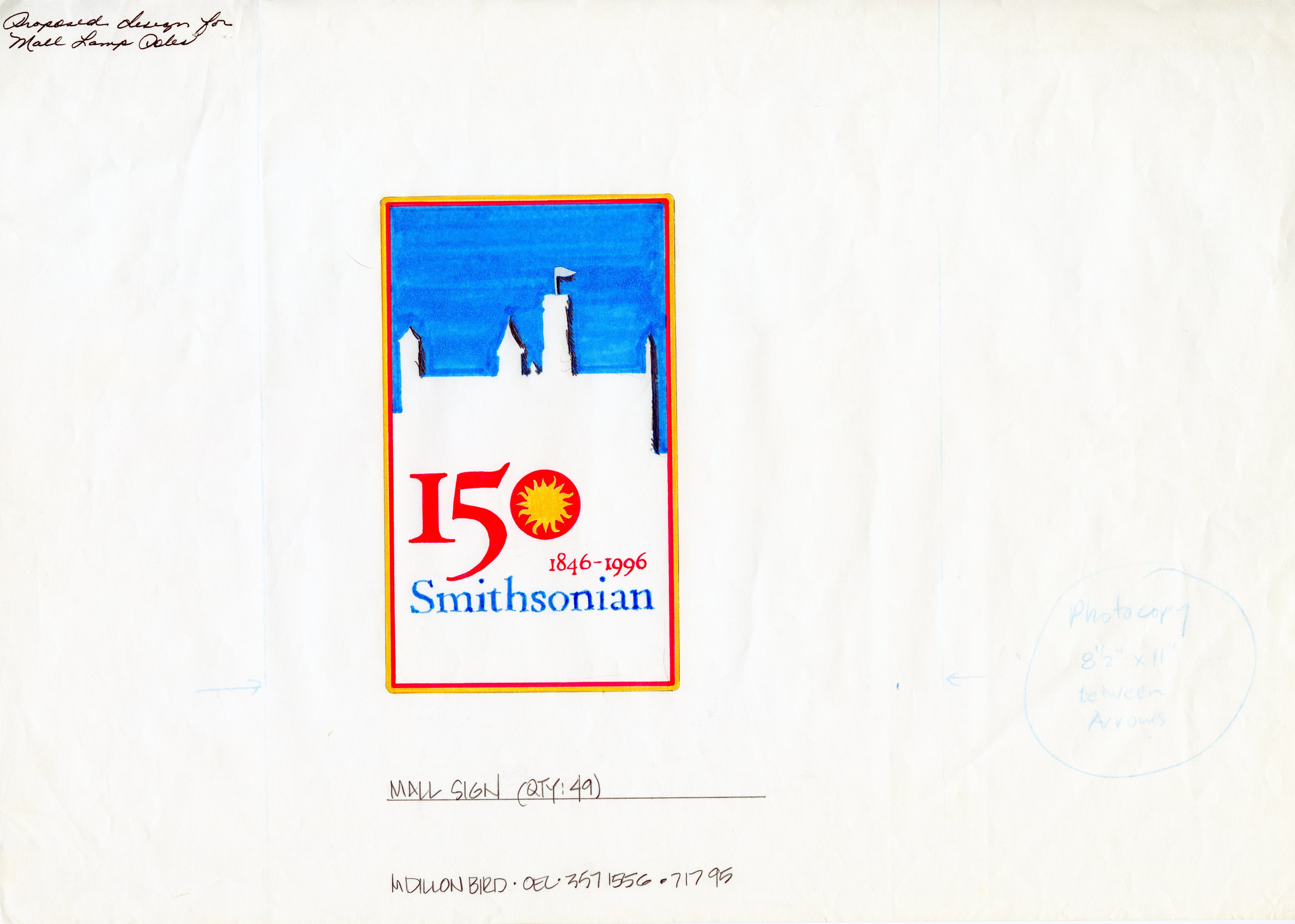 Proposed design for National Mall lamppost flags by Mary Dillon Bird, Office of Exhibits Central, 19