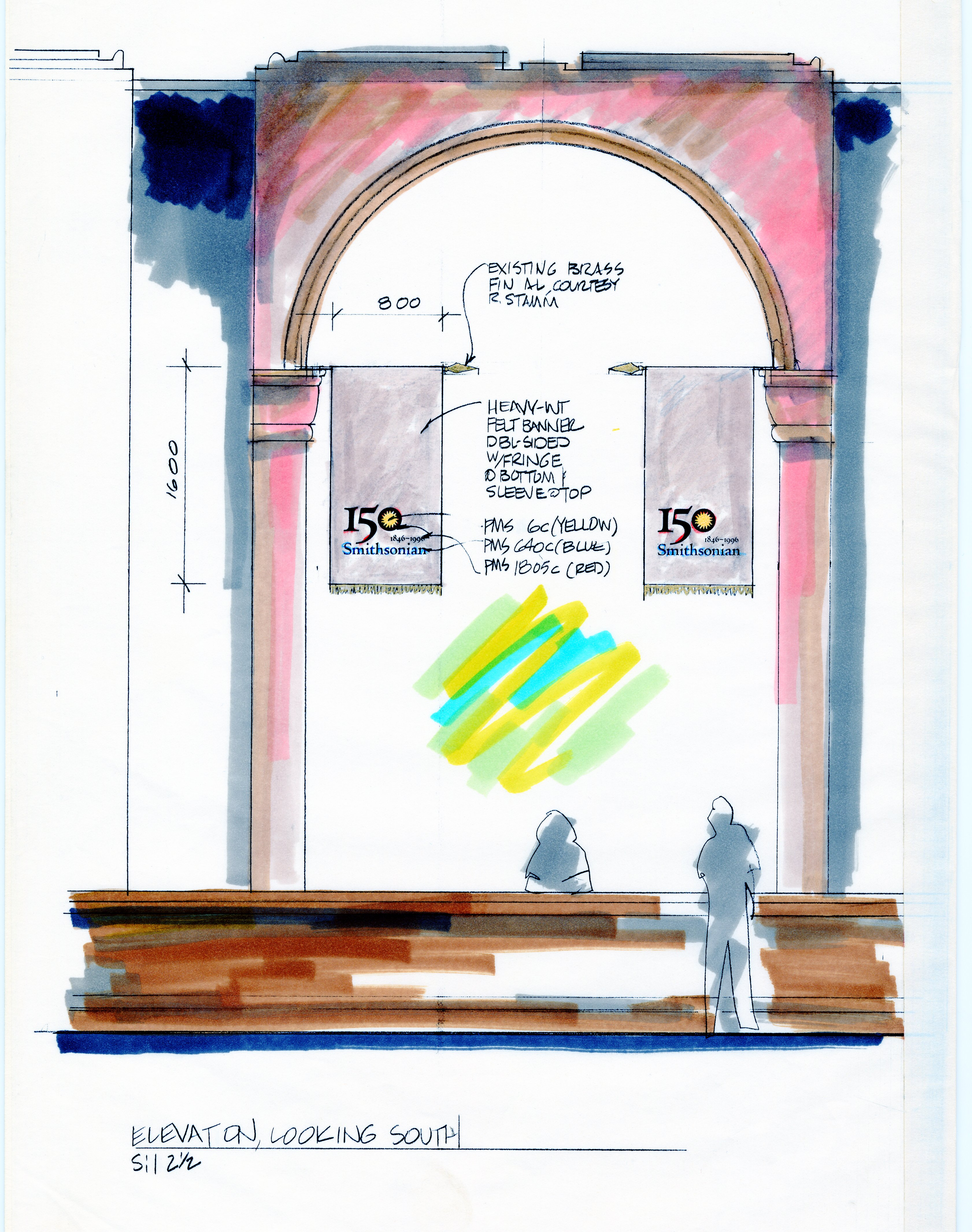 Elevation drawing - 150th Anniversary flags inside the Smithsonian Institution Building, by Mary Dil