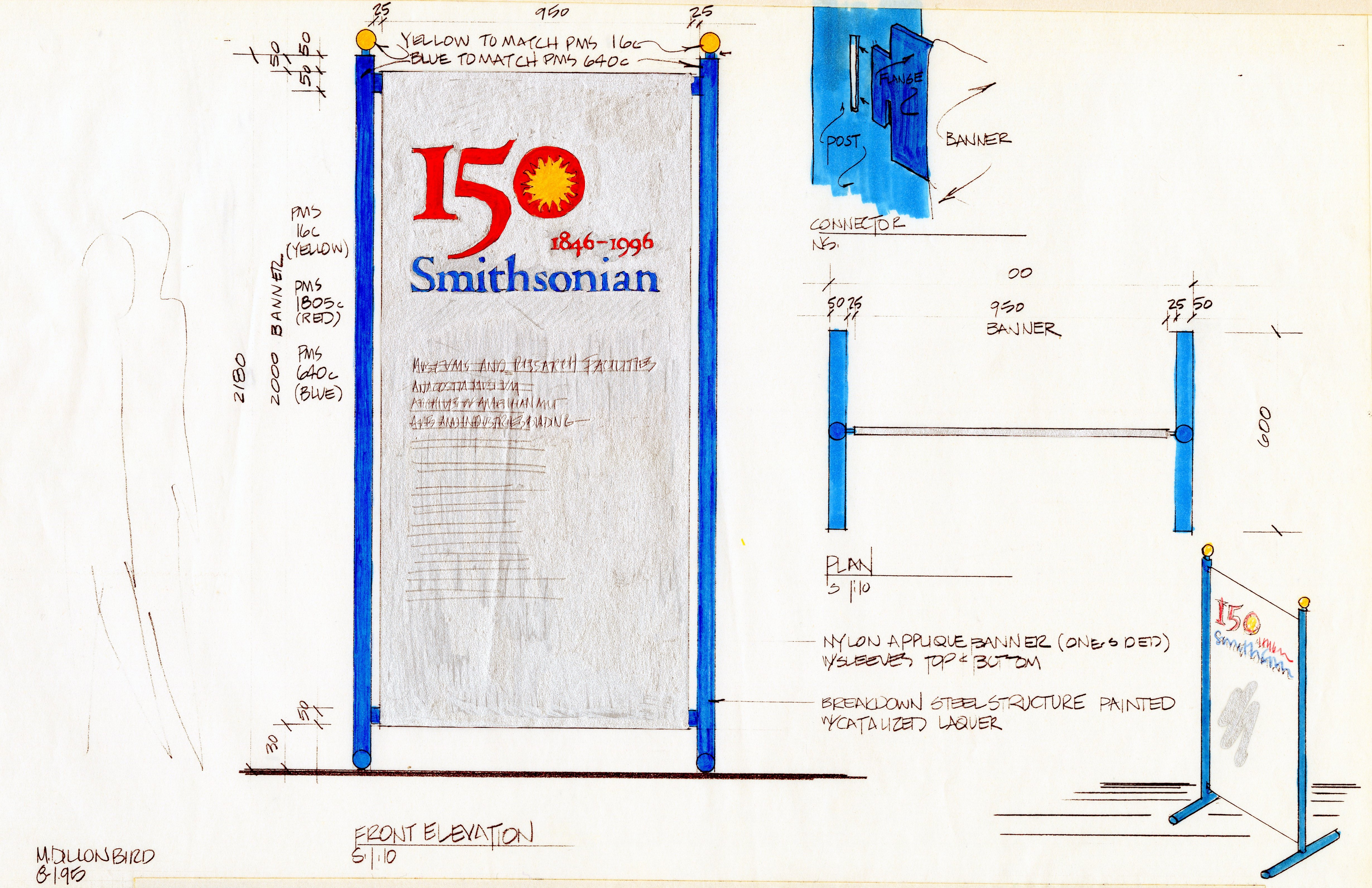 Elevation drawing - 150th Anniversary banner, by Mary Dillon Bird, Office of Exhibits Central, 1995,