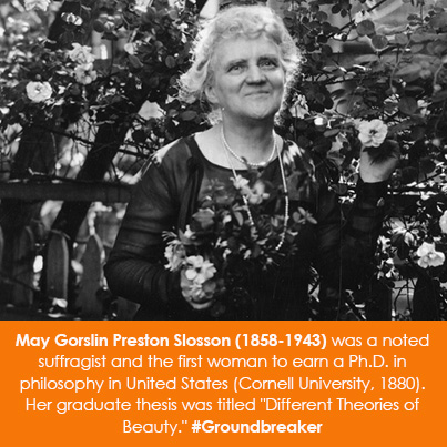 May Gorslin Preston Slosson (1858-1943) was a noted suffragist and the first woman to earn a Ph.D. i