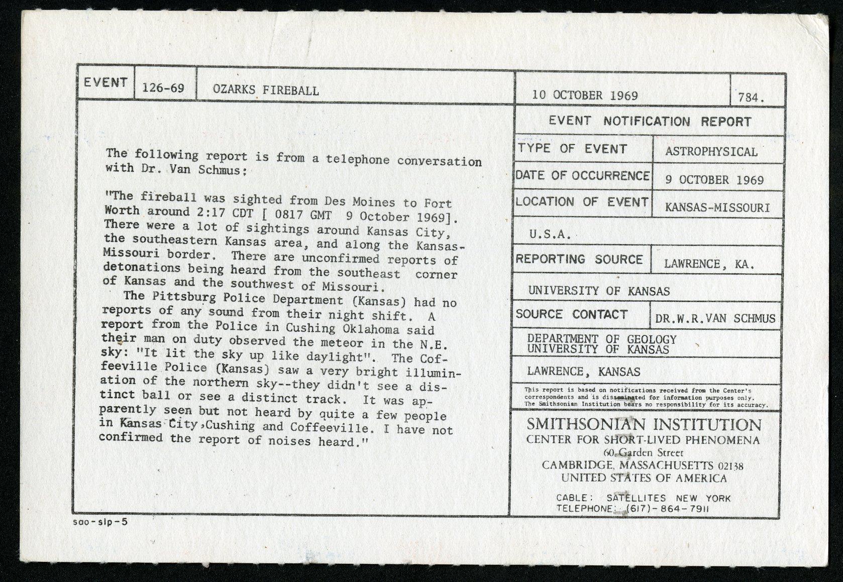 Event card - Ozarks Fireball, October 10, 1969