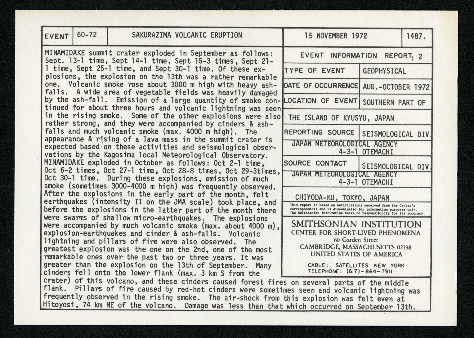 Event card - Sakurazima Volcanic Eruption, November 15, 1972