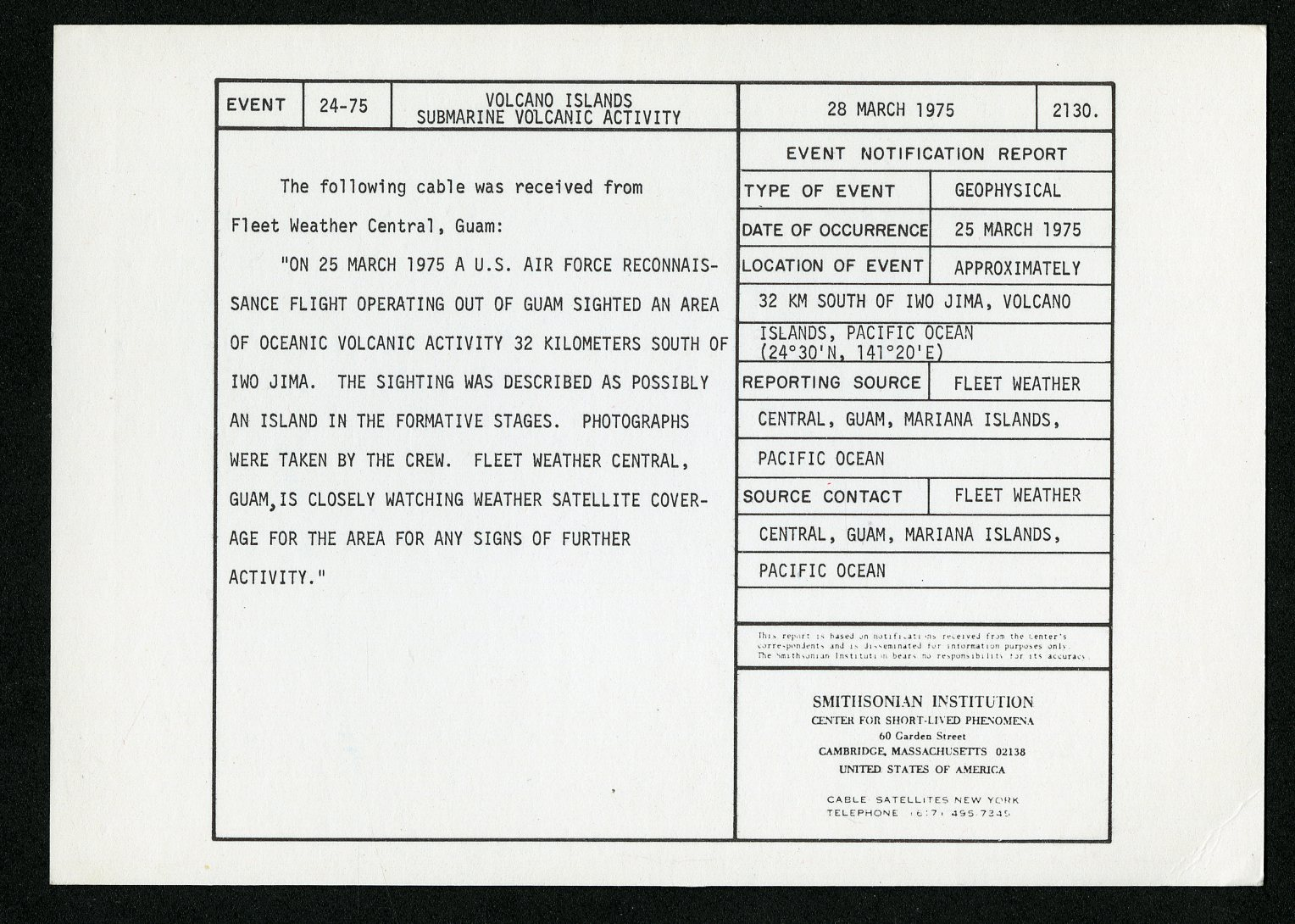 Event card - Volcano Islands Submarine Volcanic Activity, March 28, 1975