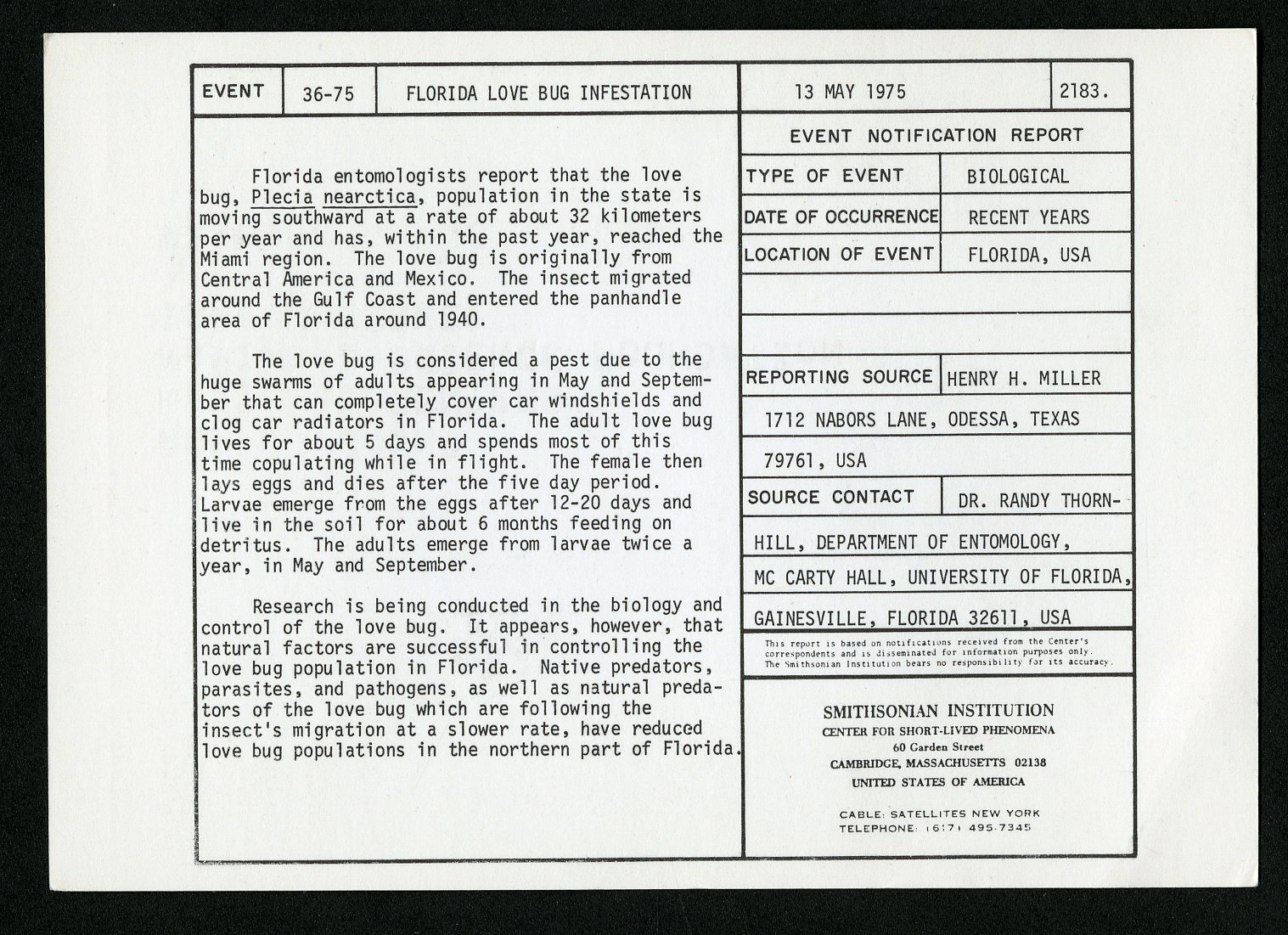 Event card -  Florida Love Bug Infestation, May 13, 1975