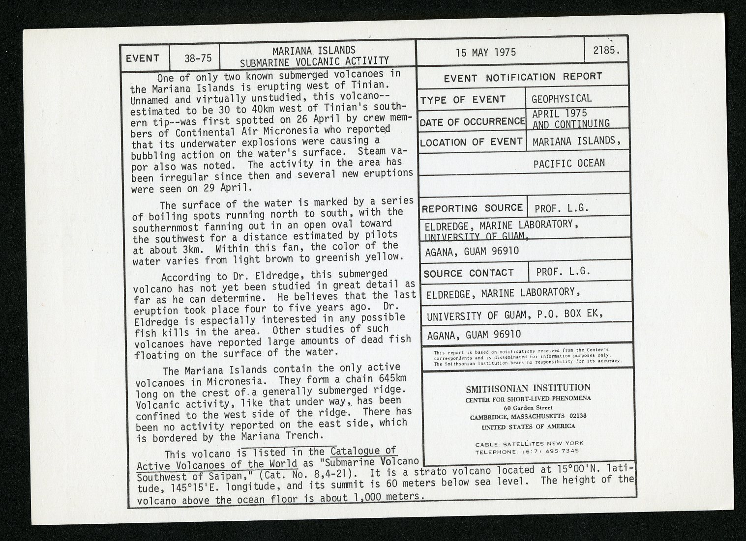 Event card - Mariana Islands Submarine Volcanic Activity, May 15, 1975