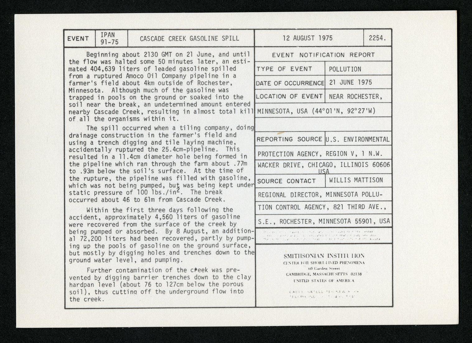 Event card - Cascade Creek Gasoline Spill, August 12, 1975