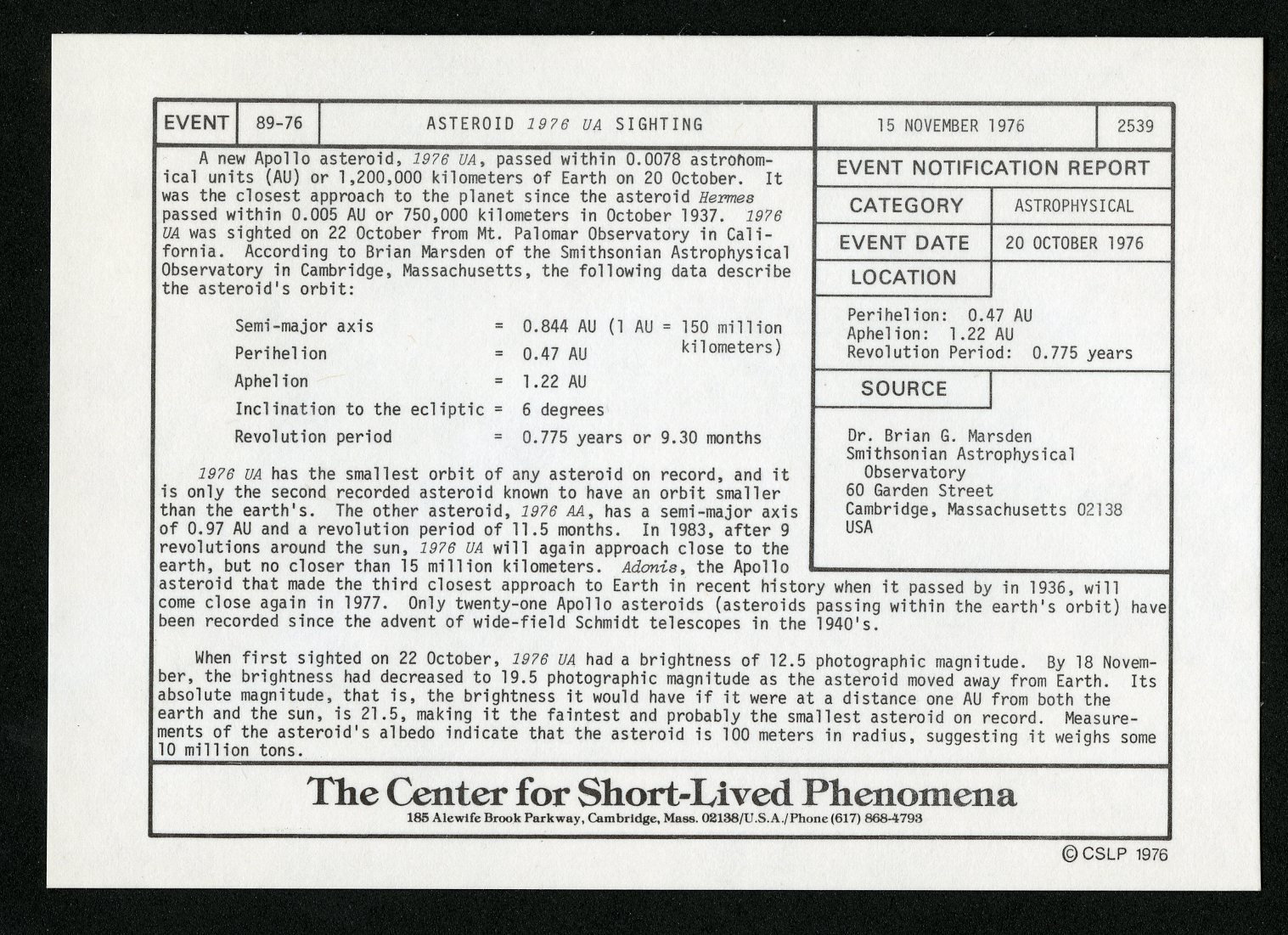 "Event card - Asteroid ""1976 UA"" Sighting, November 15, 1976"