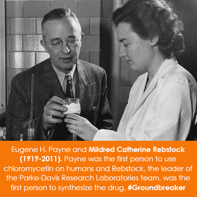 Eugene H. Payne and Mildred Catherine Rebstock (1919-2011). Payne was the first person to use chloro