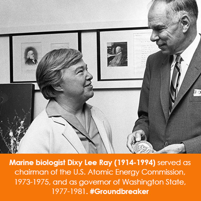 Marine biologist Dixy Lee Ray (1914-1994) served as chairman of the U.S. Atomic Energy Commission, 1