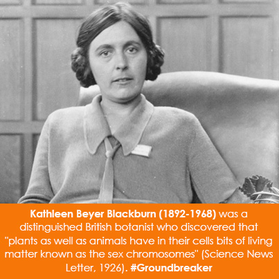"Kathleen Beyer Blackburn (1892-1968) was a distinguished British botanist who discovered that ""plant"