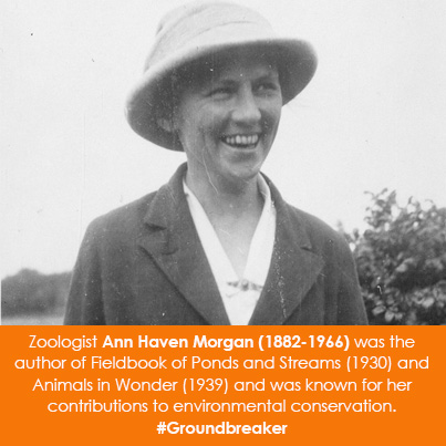 Zoologist Ann Haven Morgan (1882-1966) was the author of Fieldbook of Ponds and Streams (1930) and A