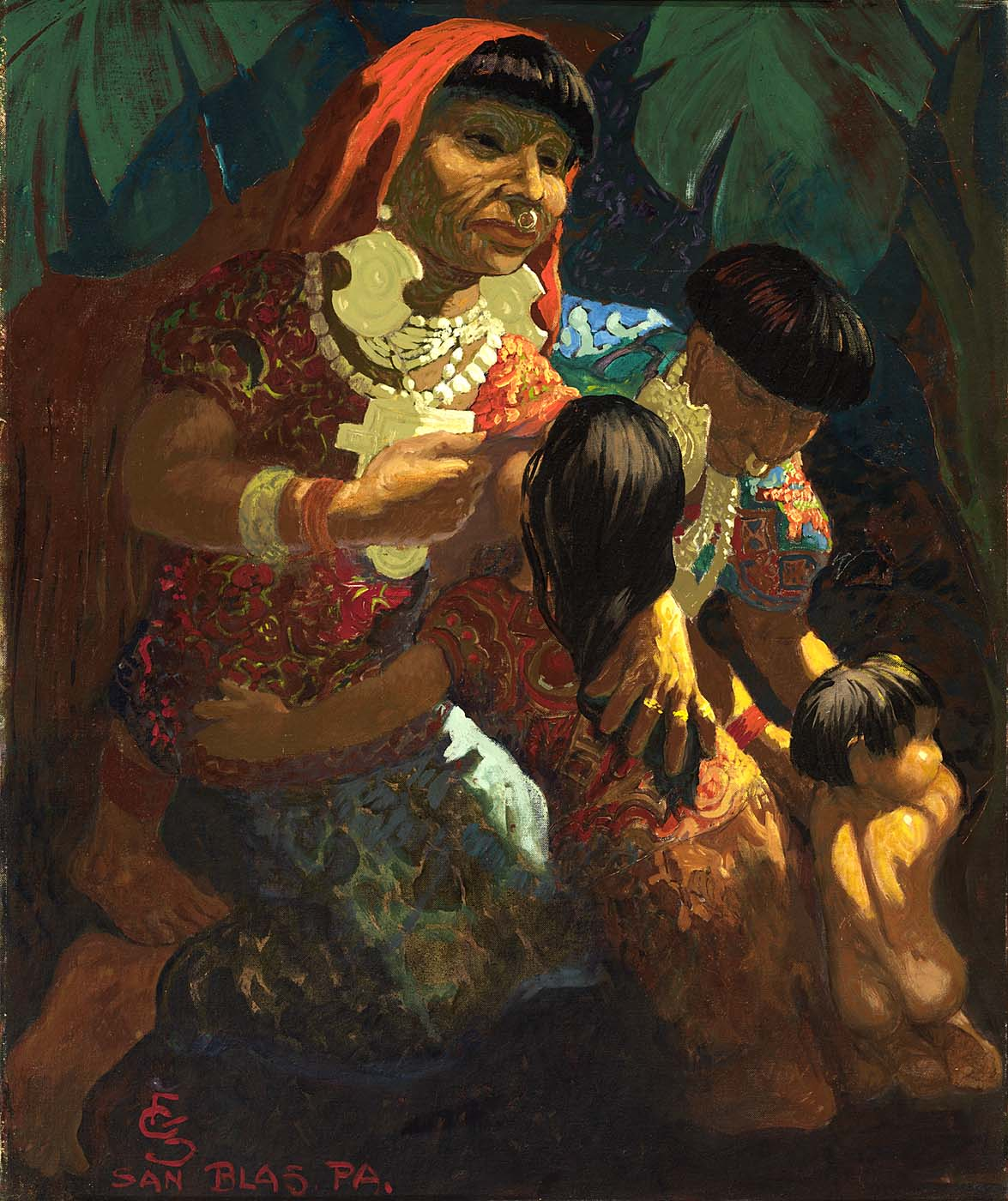 Indians of San Blas, Panama, by Carl Folke Sahlin, before 1963, oil on canvas mounted on paperboard,